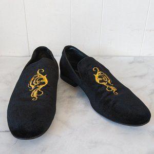 Zara Black Velvet Smoking Loafers Gold Embroidery